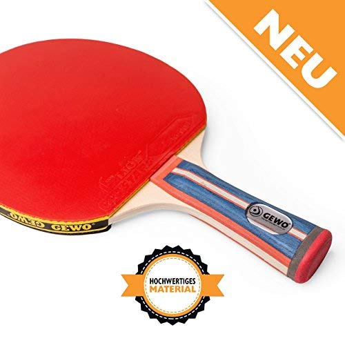 GEWO Unisex– Erwachsene Tischtennis Profis und Hobbyspieler 1.8mm ITTF Lion Belag Tischtennisschläger, Blau/Rot, One Size