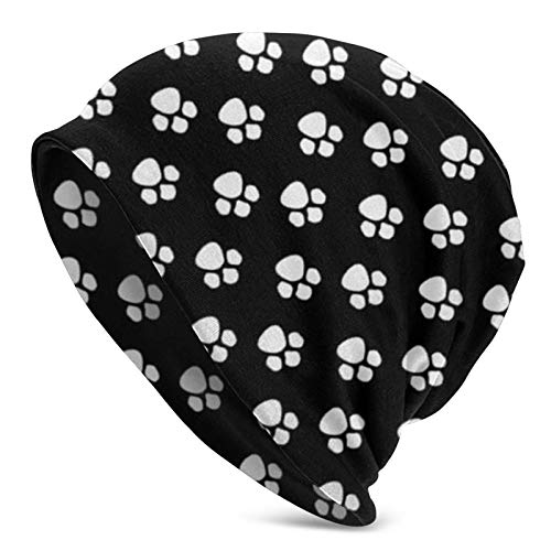 AEMAPE Huellas de pie de Perro Unisex Beanie Cap Skull Cap Headgear Winter Warm Knitted Hat