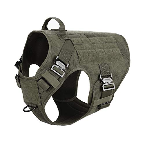 ICEFANG Tactical Dog Harness with 4X Metal Buckle,Dog MOLLE Vest with Handle,No Pulling Front Clip,Hook and Loop Panel for Dog Custom Patch (XXL (36