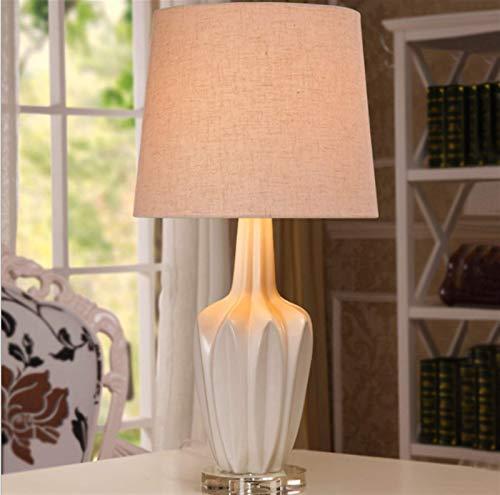 FGDSA Lámpara De Escritorio, Lámpara De Mesa De Cerámica Nórdica Mediterránea Blanca, Lámpara De Cabecera De Dormitorio De Moda Creativa Minimalista Moderna