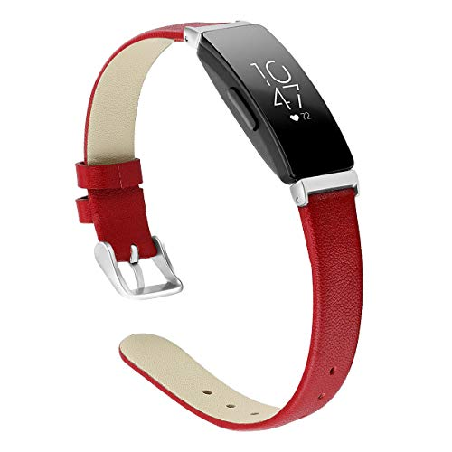 G-RF Bandas De Cuero para Fitbit Inspire HR Reloj Inteligente Pulsera De Repuesto (Pequeña,Rojo)