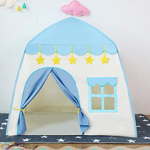 キッズテント 子供用テント ボールハウス 室内 LEDライト・飾り・収納バッグ付き 折り畳み式 収納簡単 誕生日 入園祝い 出産祝いプレゼントに最適 ブルー BEEWAYS
