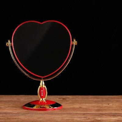 KMYX Accueil Maquillage Miroir rouge ovale ronde Femmes Princesse Miroir Outils élégant cosmétiques Beauté Chambre Bureau Mariage Miroir Décoration (Color : A)