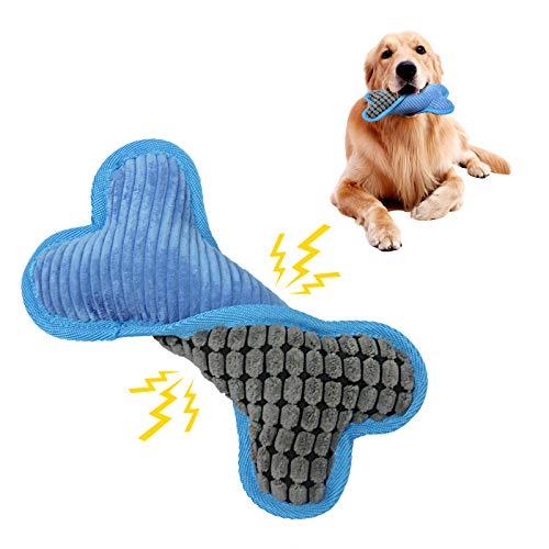 Andiker Quietschspielzeug welpe, langlebiges Hundespielzeug aus weichem Fell, Plüschtier als Hundebegleiter, knochenförmiges Kauspielzeug für Welpen