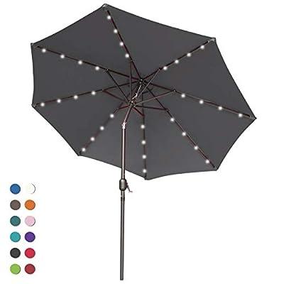 ABCCANOPY Solar Umbrellas Patio Umbrella 9 FT LED Umbrellas 32LED Lights with Tilt and Crank Outdoor Umbrella Table Umbrellas for Garden, Deck, Backyard, Pool and Beach,12+Colors
