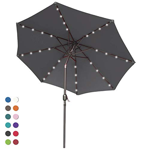 ABCCANOPY 9FT Patio Umbrella Ourdoor Solar Umbrella LED Umbrellas with 32LED Lights, Tilt and Crank Table Umbrellas for Garden, Deck, Backyard and Pool,12+Colors, (Dark Gray)