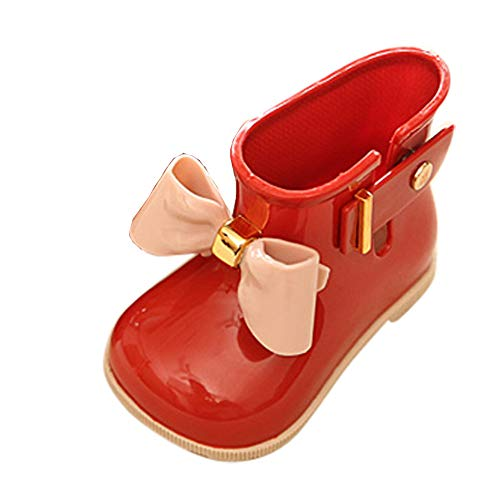 VEKDONE Toddler Bow Rain Boot Baby Boys Girls Cute Jelly Shoes Red
