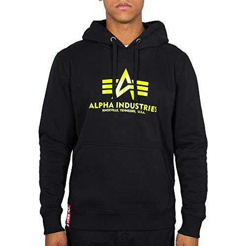 ALPHA INDUSTRIES Herren Hoodie Basic Logo Neon Print Black/neon Yellow (L)