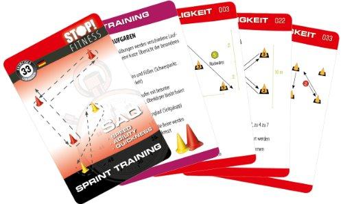 STOP! Fitness | Sprint Training (Cones) | Trainingskarten Übungskarten, deutsche Version, Kartengröße 66 x 100 mm mit Kunststoffbox - SAQ Serie