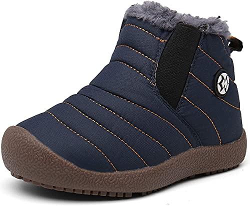 Gaatpot Kinder Winterschuhe Jungen Mädchen Schneestiefel Wasserdicht Warm gefütterte Schlupfstiefel Winter Stiefel Sneaker Schuhe Blau 27.5 EU/28 CN