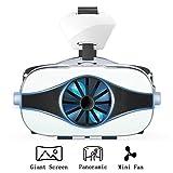 LPWCA 3D-Brille, Virtual Reality Box,VR Helm mit Mini Lüfter,360° Panorama,Geeignet Für 4,0~6,3 Zoll Smartphones