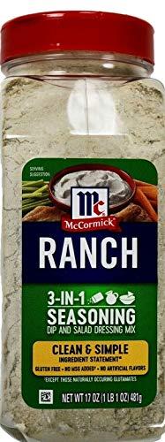 McCormick Ranch 3-in-1 Seasoning Dip Salad Dressing Mix, 17 Ounce