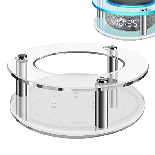 Geekria Carcasa de acrílico transparente para Echo Dot (3ª generación) con reloj, soporte de pared para altavoz, se utiliza para 2019 Amazon All-New Echo Dot (3ª generación) altavoz inteligente
