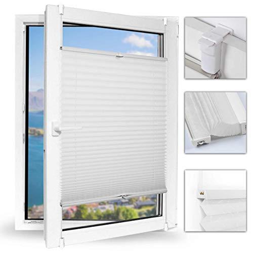 Achollo Plissee klemmfix Faltrollos für Fenster ohneBohren Sonnenschutzrollo 40 x 130cm (BxH) (Weiß) für Wohnzimmer, Arbeitszimmer, Büro, Bibliothek