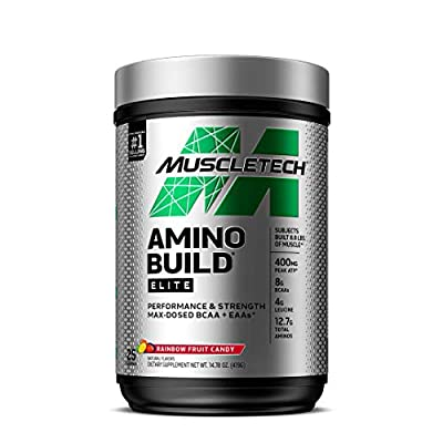 BCAAs Amino Acids Supplement | MuscleTech Amino Build Elite BCAA Powder | Intra Workout Essential Amino Acids EAA Powder | Muscle Building & Pump Supplement | Rainbow Fruit Candy (25 Servings)