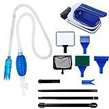 KEESIN Kit de limpieza de peces, juego de rascadores de algas incluye 6 en 1 limpiador de grava para tanque de peces, aspiradora de sifón y cepillo limpio flotante, accesorios para limpieza de grava
