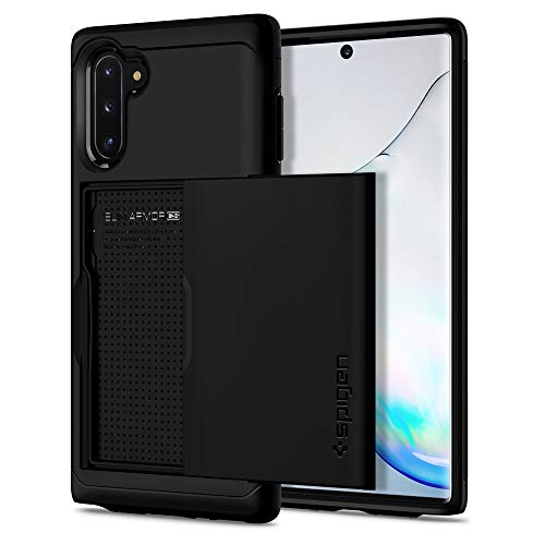Spigen Slim Armor CS Kompatibel mit Samsung Galaxy Note 10 Hülle, 2-teilige Handyhülle Kartenfach TPU Schicht + PC Rückschale Schutzhülle Case Schwarz ACS00233