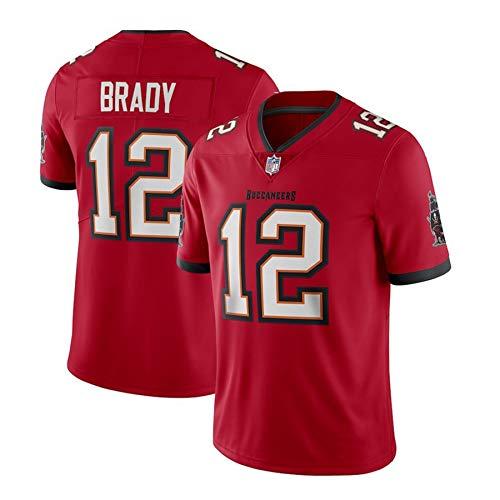 WFGY Jerseys -Tom Brady Nº 12 Patriotas De Nueva Inglaterra De Rugby Americano Jersey, Bordado De Tela, Bordado Aficionados Versión Fan Camisetas,Rojo,L