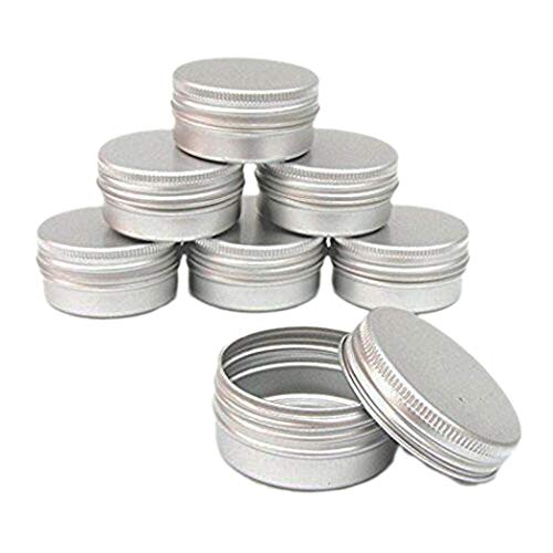 CTKcom 1-Ounce Metal Tins Screw Top Flat Aluminum Silver Slide Round Tin Containers For Lip Balm,Crafts,Cosmetic,Candles,Travel Storage Kit (Pack of 20)
