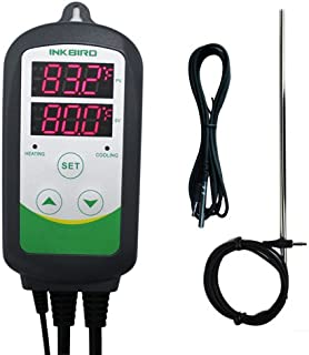 Inkbird Heating Cooling Stage Thermostat Temperature Controls for Home brewing Fermenation Carboy Freezer Kegerator ITC-308S with NTC and 12 inches Sensor