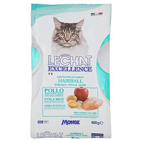 MONGE LE CHAT EXCELLENCE HAIRBALL Alimento seco para gatos adultos que contiene pollo y salmón deshidratados, proteína, fibra y grasas saludables, comida para felinos, para consumo diario, 400 g