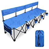 CAMPMOON Portable 4 Seat Sport Folding Chair with Seat Backs & Carry Bag, Lightweight Folding Bench Chair for Sports Outdoor, Blue