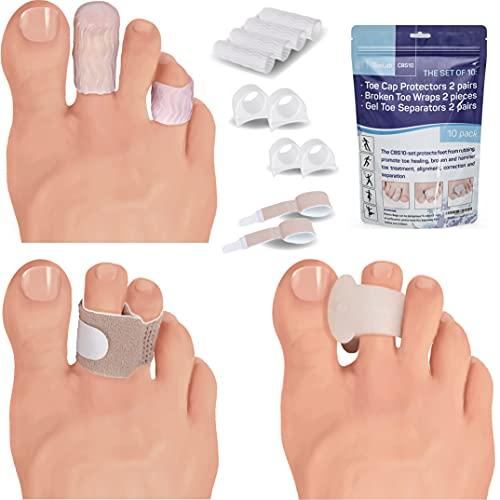 ToeLab Toe Cap Protector + Broken Toe Wraps + Gel Toe Separators - 10pack Bunion Correctors Cushioned Bandages Splints Toe Cover CBS10