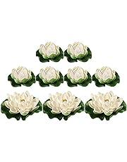 BESPORTBLE 9 st konstgjorda näckrosor dekorativa lotusblad trädgård falska lotusdekorationer (vit)