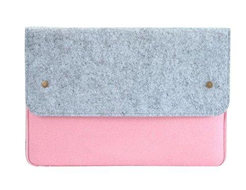 "Filz Laptop Sleeve Laptoptasche Schutzhülle Notebooktasche Tablette Kasten Aktenkoffer Computer-Beutel für 11.6-15.6 Zoll MacBook/Dell/Lenovo/Ultrabook 13.3\"" Grau pink"