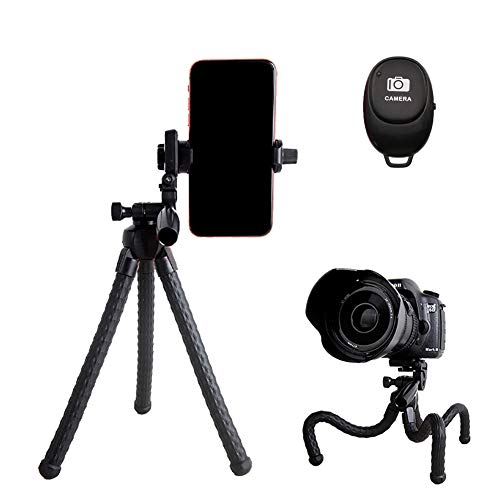 TMANGO Phone Tripod with 3-Way Head and Wireless Remote Shutter, Flexible Portable Mini Tripod with Universal Clip and 1/4'' Screw for iPhone, Android Samsung, GoPro, Action Camera
