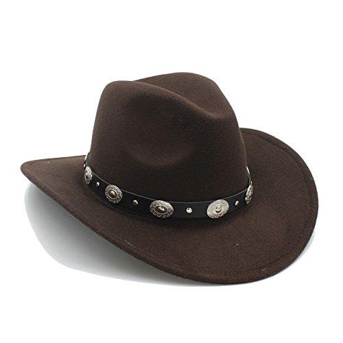 Best Choise Gorra de Jazz para Hombre Western Cowboy Hat Lana de Mujer de ala Ancha Cinturón Punk Cowgirl Church Caps para Damas/Caballeros Hermoso (Color : 7, Size : 57-58cm)