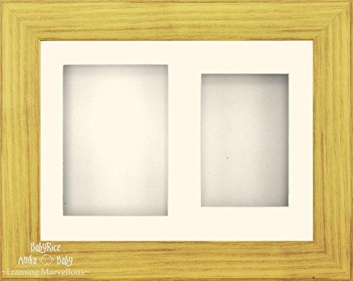 BabyRice Anika-Baby 29,2 x 21,6 cm Cadre d'écran 3D Effet chêne/Passe-Partout Crème à 2 Trous