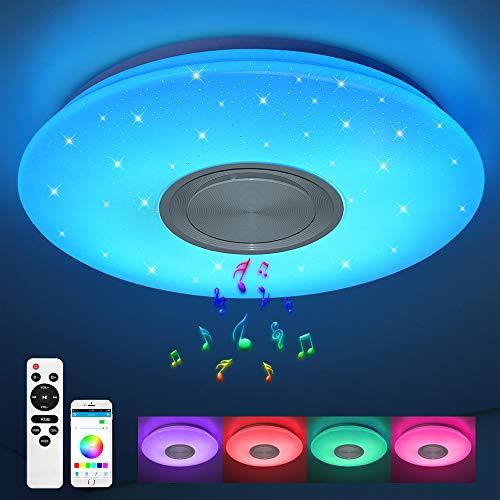 Led Deckenleuchte mit Bluetooth Lautsprecher, smart Deckenlampe mit Fernbedienung und APP-Steuerung, 24W Ø 40CM Warmweiß-Kaltweiß, RGB Farbwechsel für Schlafzimmer Küche Kinderzimmer Wohnzimmer