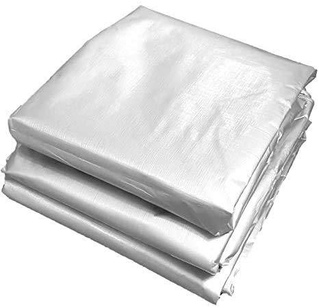 GWFVA PE dekzeil, draagbaar lichtgewicht dekzeil regendicht zonnescherm slijtvast anti-verouderingsmiddel gemakkelijk te vouwen 180g/msup2; zilver, 3X4M