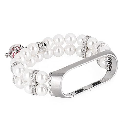 Bandas de correa de reemplazo para MI BAND 4 3 Pulseras Puertas de perfume de perlas de la perla con reloj inteligente de metal Hematite Bead (Band Color : Pink, Band Width : For mi band 3 4)