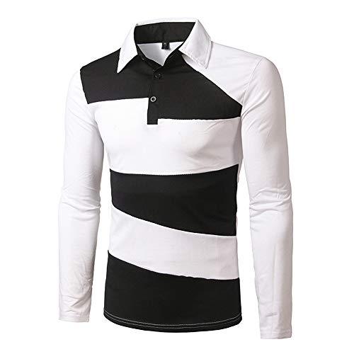 DuangDuang - Polo de manga larga para hombre (algodón), color bloque de color clásico Blanco blanco M