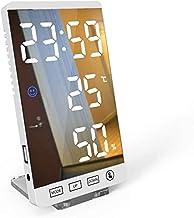GXT Higrómetro Higrómetro de termómetro electrónico de 2 Piezas, Monitor de Humedad de Calibre de Temperatura Ambiente preciso con Reloj Despertador (Color : White)