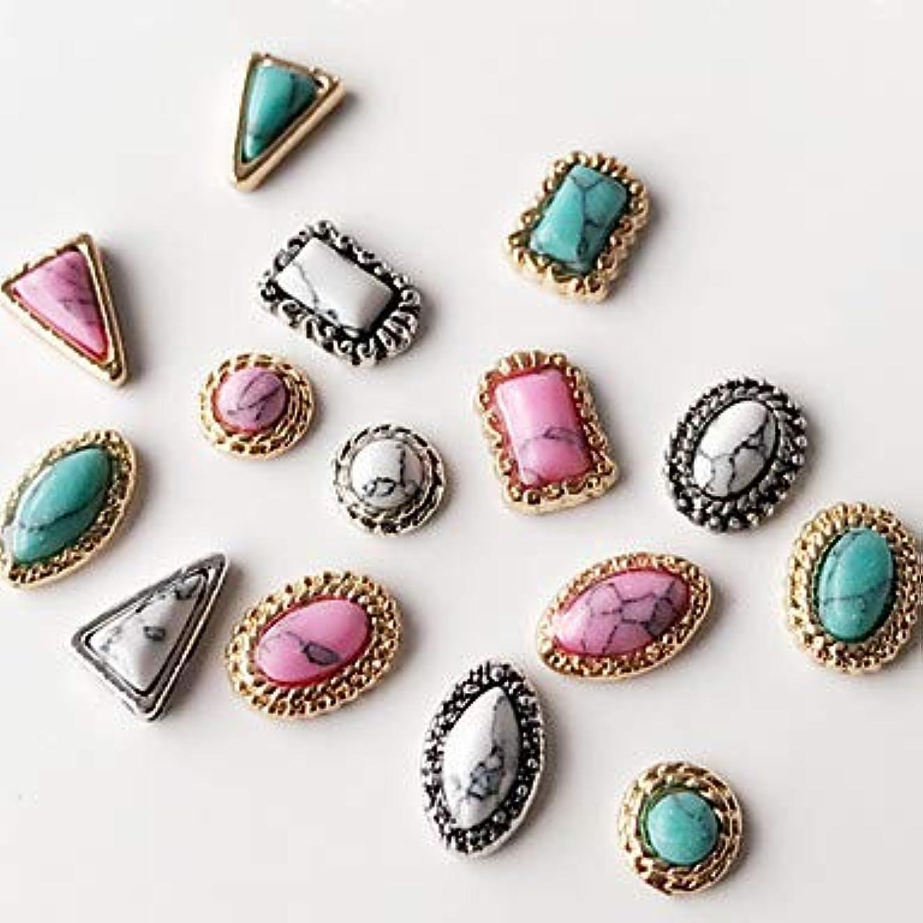 オプショナル激怒話をする10個混合スタイル混合色古代の宝石ネイルアートの装飾に戻ります
