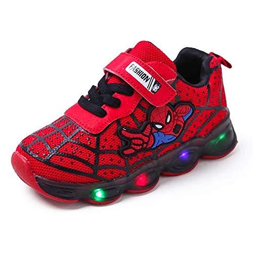 Zapatillas de deporte con luz LED para niños y niñas, informales, ligeras, para correr (talla 27 UE, color: A-Red)