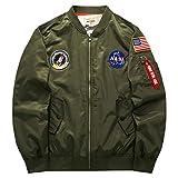 BRQ Abrigo Ma-1 para Hombres Y Mujeres, Otoño/Invierno Tallas Grandes Abrigo Deportivo De Ocio- Chaqueta Bomber Corta Gruesa Cálida M-6XL (Color : 2-Dark Army Green, Size : XL-Large)