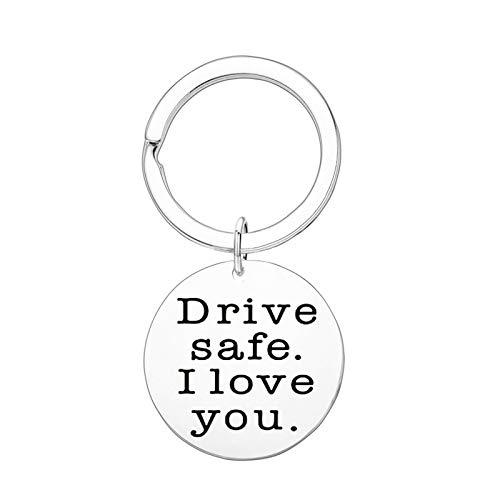 Llaveros Acero Hombre Llavero Hombre Coche Redondo Drive Safe I Love You. Llavero con Anillos Plata