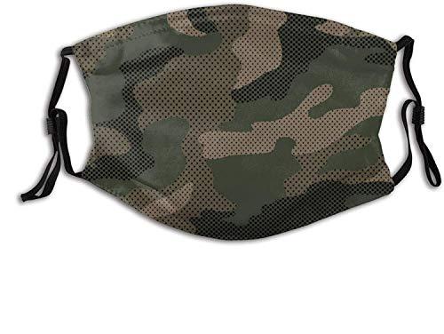 """""""N/A"""" Patrón de puntos de camuflaje en verde Máscara de camuflaje Bufanda ajustable reutilizable Pasamontañas antipolvo a prueba de viento para hombres y mujeres"""
