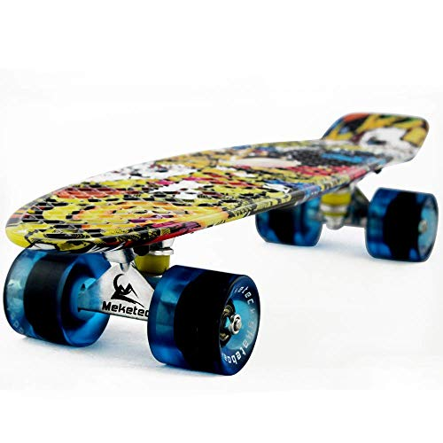 MEKETEC Skateboards parachever 22 Inch niño Cruiser Retro Skateboard Monopatín para niños niños jóvenes Principiantes