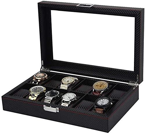 Caja de reloj de fibra de carbono Caja de reloj 12 relojes de cuero artificial caja de reloj de gama alta soporte de exhibición de reloj
