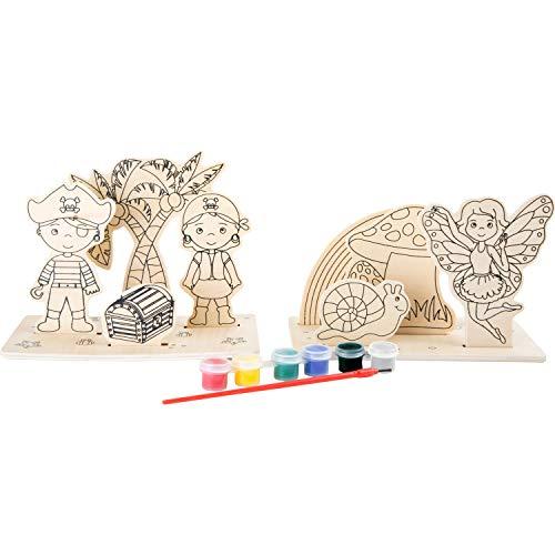Dibujos depiratas y hadas de madera para colorear.