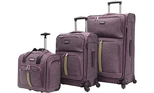 Nicole Miller 3 Pcs Softside Luggage Collection - Expandable Lightweight Suitcase Set Includes 15 Inch Under Seat Bag, 20 Inch Carry On & 28 Inch Suitcase with Spinner Wheels (Cameron Lavender)