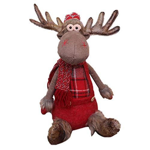 Rainai Navidad Decoración - Innovador Muñeco De Peluche Elk De Navidad, Súper Lindo Largo Pierna Sentada Reno...