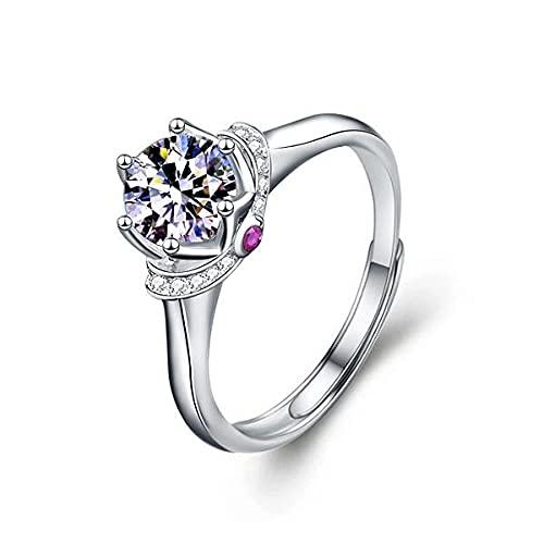 Anello nuziale in argento Sterling S925 con moissanite da un carato a sei poli di diamante anello femminile con apertura regolabile per San Valentino