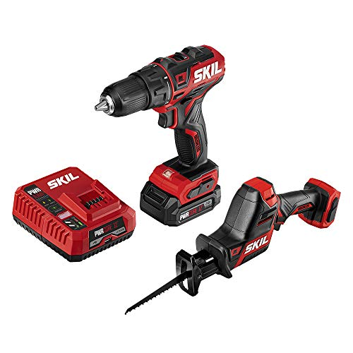 SKIL 2-Tool Combo Kit: PWRCore 12 Brushless 12V 1/2 Inch Cordless Drill Driver and Compact Brushless Reciprocating Saw, Includes 2.0Ah Lithium Battery and PWRJump Charger - CB742601