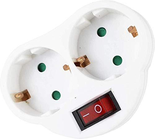 Adapter / Stecker 2 Steckdosen mit 1 Schalter.
